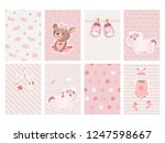 et of cards for baby shower... | Shutterstock .eps vector #1247598667