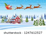 a house in a snowy christmas... | Shutterstock .eps vector #1247612527