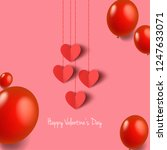 hearts with balloons for... | Shutterstock .eps vector #1247633071
