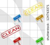 set of varicolored mops in...   Shutterstock .eps vector #124763371