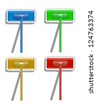 set of varicolored mops. vector ... | Shutterstock .eps vector #124763374