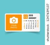 calendar january 2019 year in... | Shutterstock .eps vector #1247639137