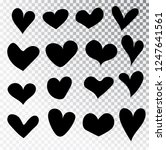 hearts hand drawn set isolated. ... | Shutterstock .eps vector #1247641561