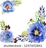 flowers watercolor illustration.... | Shutterstock . vector #1247652841