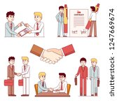 partners men shaking hands... | Shutterstock .eps vector #1247669674