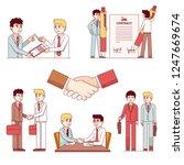 partners men shaking hands... | Shutterstock .eps vector #1247669674