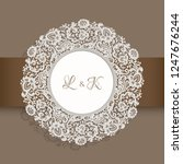vintage round label with lace... | Shutterstock .eps vector #1247676244