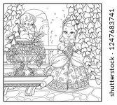 beautiful princess holding...   Shutterstock .eps vector #1247683741