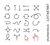 doodle arrow icons isolated on... | Shutterstock .eps vector #1247687887