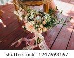 wedding bouquet of flowers and... | Shutterstock . vector #1247693167