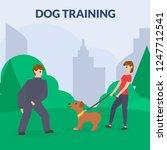 dog park with sport equipment.... | Shutterstock .eps vector #1247712541