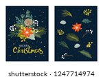 christmas floral set of cards... | Shutterstock .eps vector #1247714974