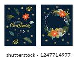 christmas floral set of cards... | Shutterstock .eps vector #1247714977