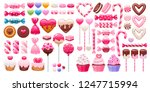 valentine's day sweets set  ... | Shutterstock .eps vector #1247715994
