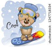 cute cartoon teddy bear on a... | Shutterstock .eps vector #1247718334