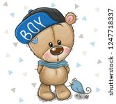 cute cartoon teddy bear in a... | Shutterstock .eps vector #1247718337