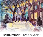 night town street in the snow... | Shutterstock . vector #1247729044