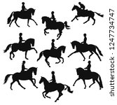 Stock vector equestrian black and white vector silhouettes of a riders and horses 1247734747