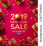 2019 new year sale poster with... | Shutterstock .eps vector #1247743441