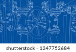 sketch of industrial equipment. ... | Shutterstock . vector #1247752684