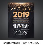happy new 2019 year party... | Shutterstock .eps vector #1247753227