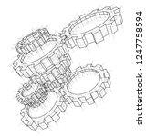 3d gears. 3d illustration.... | Shutterstock . vector #1247758594