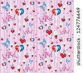 hearts balloons  wine sweet... | Shutterstock .eps vector #124776649