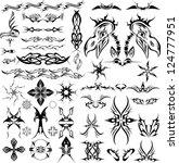 large tattoo set | Shutterstock .eps vector #124777951