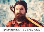 bearded lumberjack. male holds... | Shutterstock . vector #1247827237