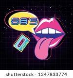 lips pop art with cassette... | Shutterstock .eps vector #1247833774