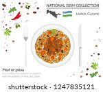 uzbek cuisine. asian national... | Shutterstock .eps vector #1247835121