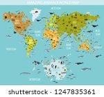 flat world flora and fauna map... | Shutterstock .eps vector #1247835361