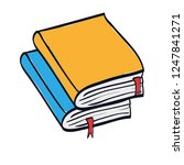 pile text books isolated icon | Shutterstock .eps vector #1247841271