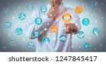 pensive researcher reaching a... | Shutterstock . vector #1247845417