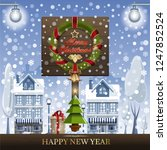 christmas card with traditional ... | Shutterstock .eps vector #1247852524