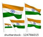 india vector flags set. 5 wavy... | Shutterstock .eps vector #124786015