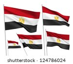 egypt vector flags set. 5 wavy... | Shutterstock .eps vector #124786024