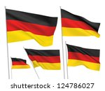 Germany vector flags set. 5 wavy 3D cloth pennants fluttering on the wind. EPS 8 created using gradient meshes isolated on white background. Five fabric flagstaff design elements from world collection - stock vector