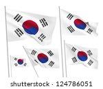 south korea vector flags set. 5 ... | Shutterstock .eps vector #124786051