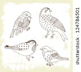 bird hand drawn set | Shutterstock .eps vector #124786501