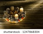 advent wreath with two burning... | Shutterstock . vector #1247868304