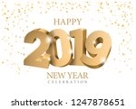 vector text design 2019. gold... | Shutterstock .eps vector #1247878651