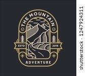 the mountain adventure line art ... | Shutterstock .eps vector #1247924311