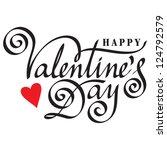 happy valentine's day hand... | Shutterstock .eps vector #124792579