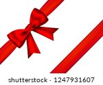 red realistic gift bow with... | Shutterstock .eps vector #1247931607