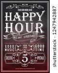 happy hour on chalkboard.... | Shutterstock .eps vector #1247942887