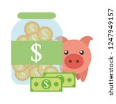 saving piggy with coins and... | Shutterstock .eps vector #1247949157