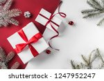 christmas gift boxes with red... | Shutterstock . vector #1247952247