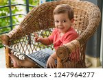 child with a laptop on the... | Shutterstock . vector #1247964277