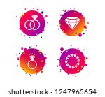 rings icons. jewelry with shine ... | Shutterstock .eps vector #1247965654